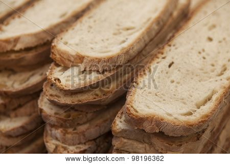 A loaf of homemade sliced bread, meal of durum wheat.