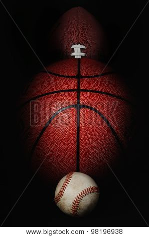 Sports balls close up