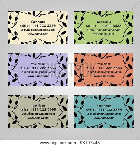 Set Of Six Horizontal Business Cards In Different Soft Colors. Vintage Pattern With Leaves. Complied
