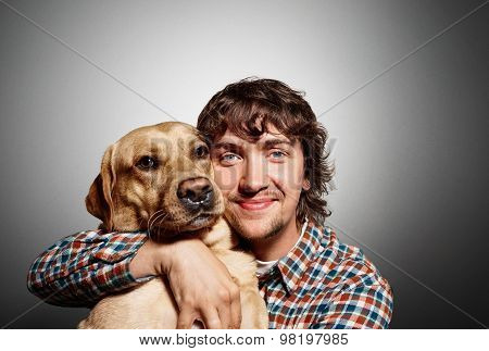 Closeup Portrait Handsome Young Hipster Man, Hugs His Good Friend Dog Isolated Black Grey Background