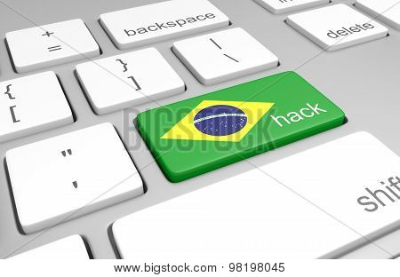 Brazil hacking concept of a computer keyboard and a key painted with the Brazilian flag