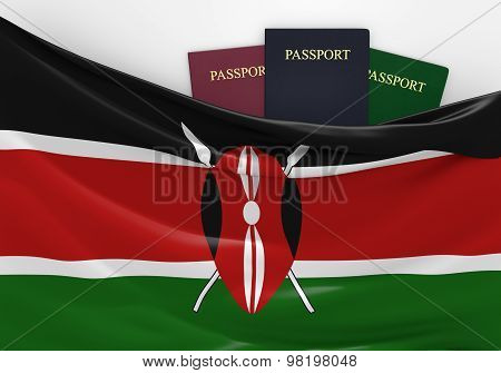 Travel and tourism in Kenya, with assorted passports