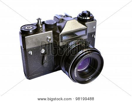 Soviet Retro Film Camera Isolated On White Background