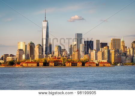 Lower Manhattan Skyscrapers And Ellis Island From New York Harbor