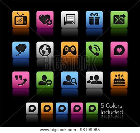 Social Communications Icons // ColorBox Series ---- The Vector file includes 5 color versions for each icon in different layers --