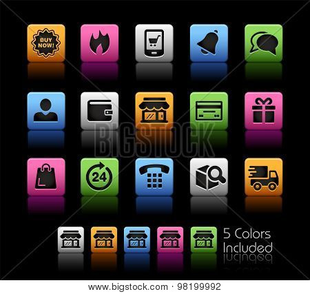 E-Shop Icons // ColorBox Series ---- The Vector file includes 5 color versions for each icon in different layers --
