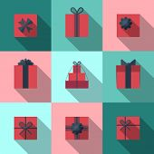 Постер, плакат: Flat Gift Box Icon With Long Shadow