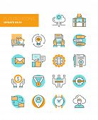 Business Work Flow Line Icons poster