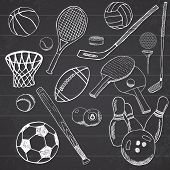 Постер, плакат: Sport Balls Hand Drawn Sketch Set With Baseball Bowling Tennis Football Golf Balls And Other Spor