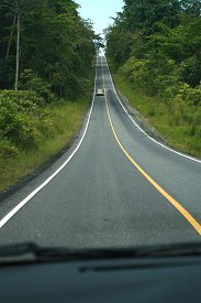 image of long winding road  - Landscape of long road in Thailand - JPG