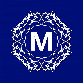 picture of monogram  - Simple  Monogram M Design Template on Blue Background - JPG