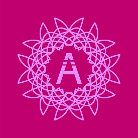 image of monogram  - Simple  Monogram A Design Template on Pink  Background - JPG