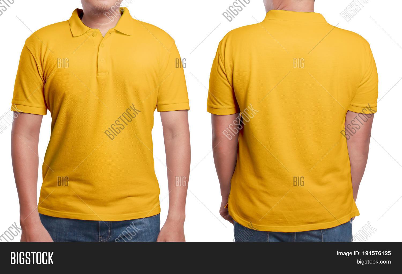 Orange polo t shirt mock front back image photo bigstock for T shirt mockup front and back