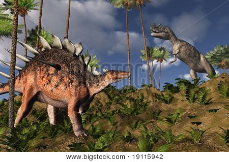 Kentrosaurus And Ceratosaurus