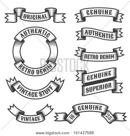 Authentic retro vintage ribbons and banners on white background. Vector illustration.
