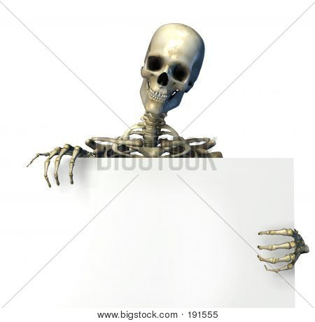 Skeleton Holding The Edge Of A Blank Sign