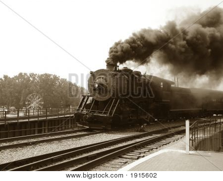 Vintage Steam Engine Locomotive and Train