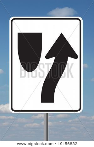 Keep right traffic sign with clouds in the background