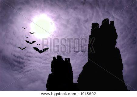 Dark Ruins And Bats