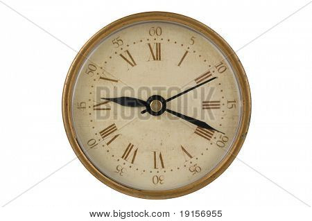Antique clock with clipping path on a white background