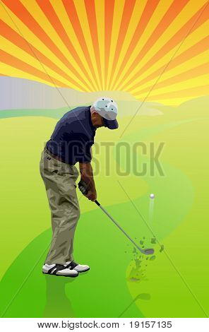 Golfer hitting a golf ball to the green - VECTOR