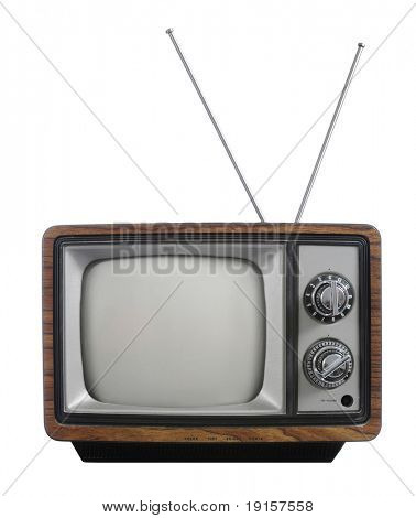 Grunge Vintage TV mit Antenne, isolated on white