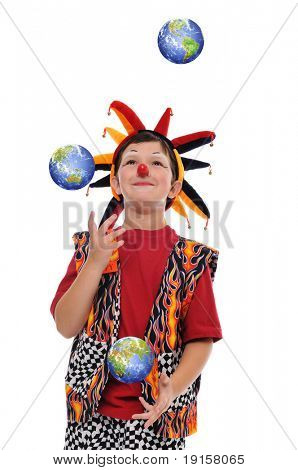 Young Clown joggling with planet earth isolated on white
