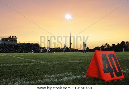 Football field at the 40th yard at night