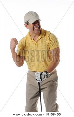 Golfer celebrating after a shot isolated on a white background