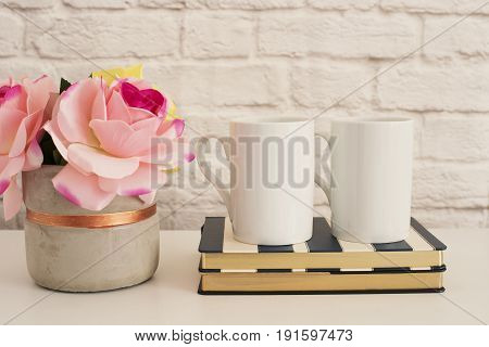poster of Two Mugs. White Mugs Mockup. Blank White Coffee Mug Mock Up. Styled Photography. Coffee Cup Product