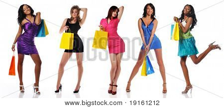 Women with shopping bags isolated on a white background