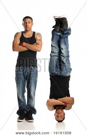 Hip Hop Style Dancer in two different reversed poses isolated on a white background