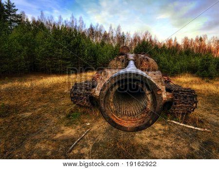 Rusty old soviet military tank