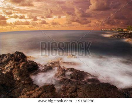 Delicate sunset of Hawaii. Photographed in Kona on Big Island. Hawaii. USA