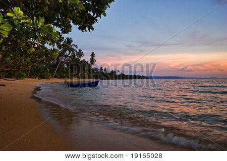 Evening on tropical beach. Siam bay. Province Trat. Koh Mak island. Kingdom Thailand