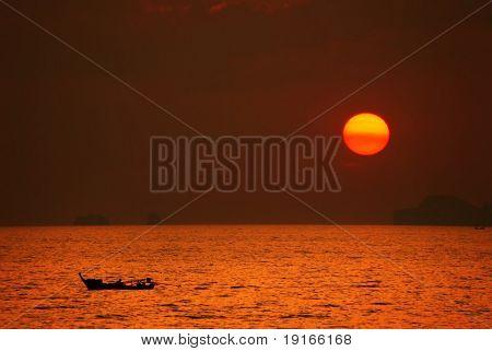 Sunset in the Japanese style. Photographed on Koh Lanta island. Thailand Kingdom.