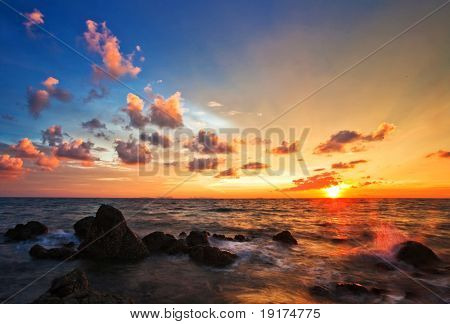 Tropical sunset on the beach. Lanta island. Thailand