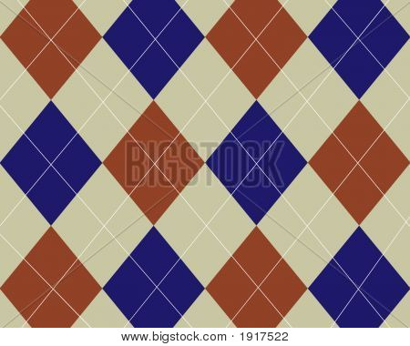 Tan Red And Blue Argyle Design