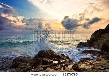 Beatiful sunset on the rocks