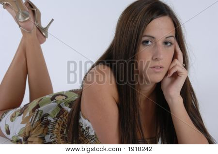 Girl Lying Looking Forward