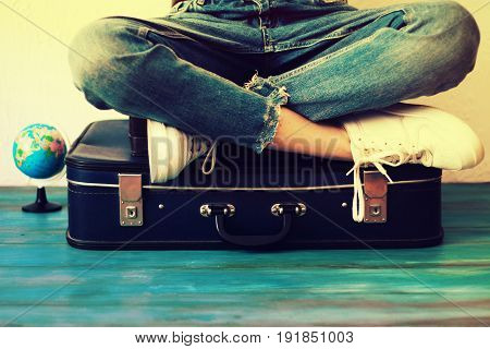 poster of Summer Travel And Vacation Concept,young Woman Packing Suitcase At Home