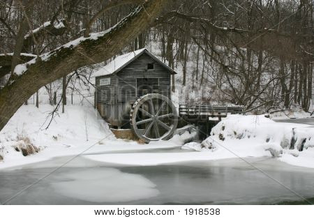 The Old Country Mill In Winter.