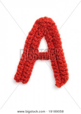 One letter of knit handmade alphabet