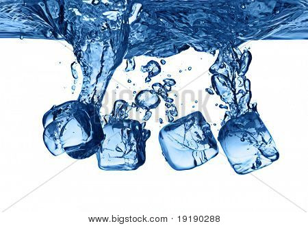 ice cubes dropped into water with splash isolated