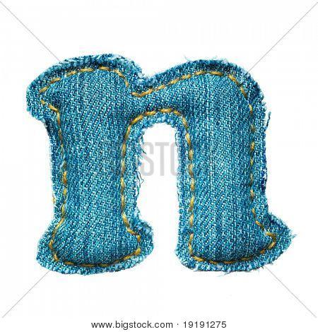 letter of jeans alphabet isolated on white, handmade, lowercase