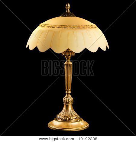 vintage table lamp isolated on black