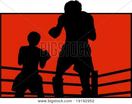 silhouette of two boxers