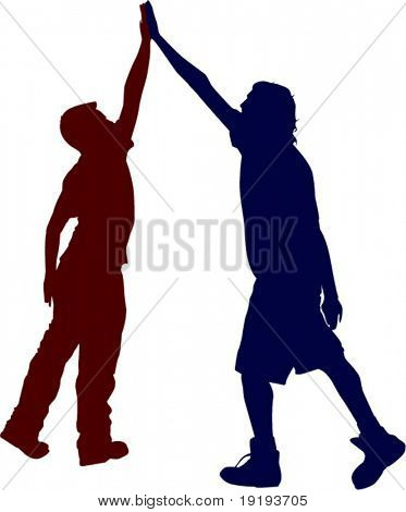 two people giving high five