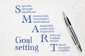 smart goal setting concept - handwriting on a white lokta paper poster