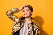 Portrait Of Fashionable Young Charming Happy Smiling Woman With Red Lips And Short Hair Standing Wit poster